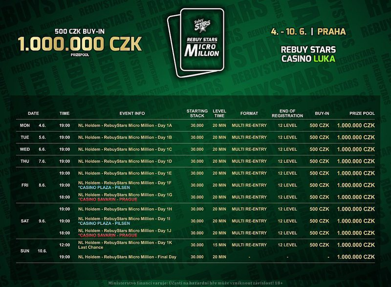 Rebuy Stars Micro Million Luka June_schedule