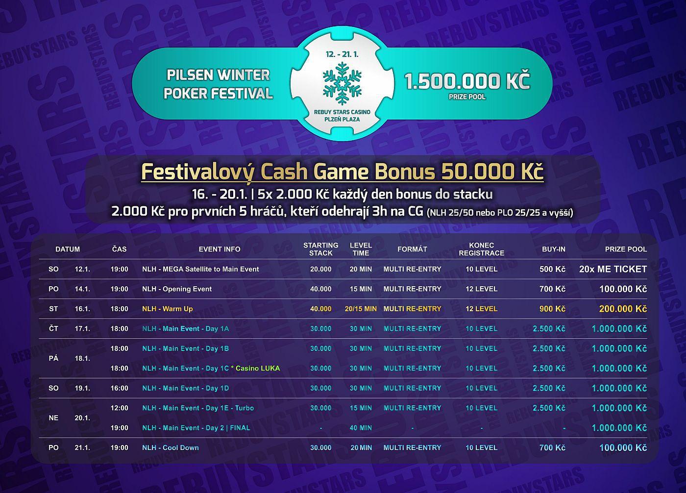 55da70cd1a0e Kompletní program festivalu Pilsen Winter Poker Festival v RebuyStars kasinu